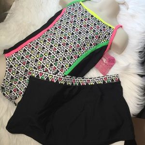 Joe Boxer Swimwear Girls 7/8 Black 2 Pc Suit